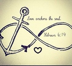 Anchor Tattoo Idea. except  have the heart at the top of the anchor! tattoos of anchors, tattoo ideas, anchor tattoo quotes, infinity signs, infinity tattoos, bible verses, a tattoo, anchor tattoos infinity heart, infinity anchor tattoos