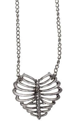 ROCK REBEL CAGED HEART NECKLACE $20.00 #rockrebel #heart #bones #jewelry #necklace