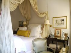 dreamy bedroom, curtains, artworks, gray bedroom, canopy beds, bedrooms, bed canopies, design, sweet dreams