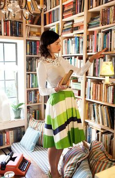 my heaven: chic outfit + library full of books