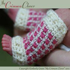 """Crochet Baby Leg Warmers """"Cross My Heart Leg Warmers"""" by Kimberly Green"""
