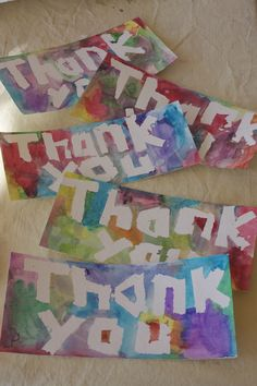 Easy watercolor thank you cards for kids.