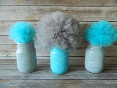 Gray & Turquoise Mason Jar w/ Tulle Pom Poms Table Decorations - Set of 3, Baby Boy Shower, Boy Birthday