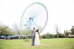 This unique background was so fun to shoot, along with this fun couple!  #weddingportraits #weddings #brideandgroom #dallasweddings #frisco #ftworth #photographer #ferriswheel