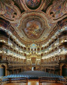 Baroque architecture inside Margravial Opera House in Bayreuth - Germany. A MUST go!