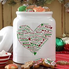 Her Heart of Love Personalized Christmas Cookie Jar