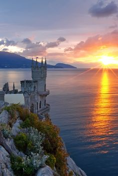 Sunrise in Swallow's Nest Castle, Yalta and Alupka on the Crimean peninsula in Ukraine