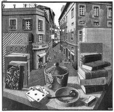 Still Life and Street - M.C. Escher