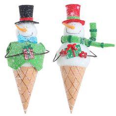 "RAZ Ice Cream Cone Snowman Christmas Ornament Set of 2  - huge ice cream ornaments at 12"" $27.20"