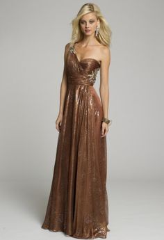 Prom Dresses 2013 - Metallic Chiffon Pleated One Shoulder Dress from Camille La Vie and Group USA