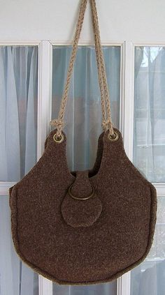 Hand Knit & Then Felted Shoulder Bag  HanBag in by PippsPurses, $65.00