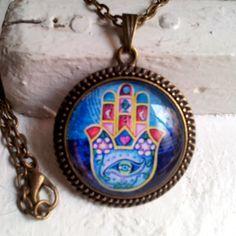 Hand of Fatima, Hamsa, Khamsa, Pendant Vintage Bronze. Circle Glass Tile Art Photo
