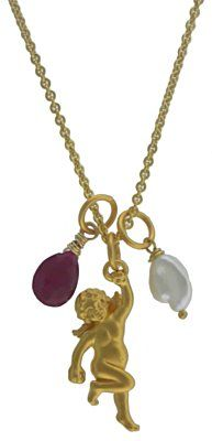 Gold Plate Cherub Pendant falls with heavenly grace among a shower of rubies and pearls.