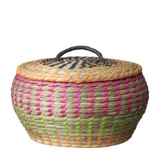 Handmade basket from Bloomingville. Love the colorful style! www.bloomingville.com