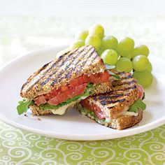 Grilled Tomato and Brie Sandwiches | MyRecipes.com #myplate #protein #grain #vegetable