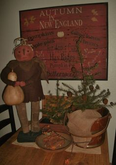 Primitive Autumn In New England sign by salmonfallsprims on Etsy, $125.00