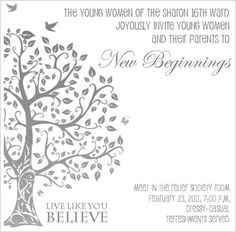 Young Women New Beginnings Invitation