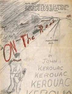 Kerouac's own design for On The Road. Check out the link for an amazing archive of On The Road covers.    http://www.beatbookcovers.com/kerouac-otr/otr_jk.jpg