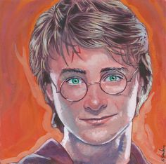 Harry Potter Done on 6x6 inch Aquabord with Winsor & Newton Gouache Paints