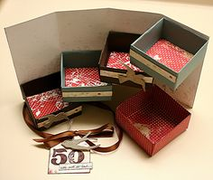 How to make Magic Boxes our of scrapbook paper- a beautiful 4-tiered gift or storage box