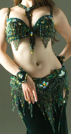 Forest Green Bella designer bellydance costume, Istanbul -- This is what I would wear if I was a cabaret dancer instead of a tribal girl!