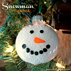 Supplies Needed:        clear ornament (I used the flat kind and plastic versus glass)      fake Styrofoam snow      Black & Orange Paint/paintbrush      ribbon or ornament hook for hanging