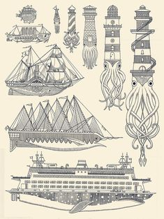 whales, krakens, ships, and lighthouses