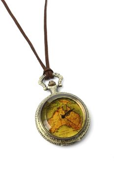 Map Pocket Watch Necklace