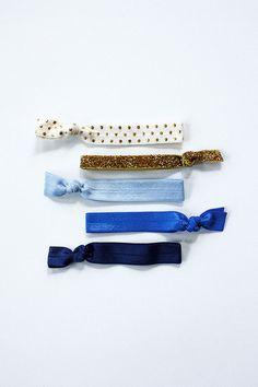 elastic hair ties -- blue shimmer palette / etsy