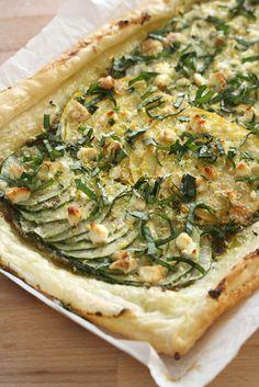 Zucchini, Pesto, and Feta Tart