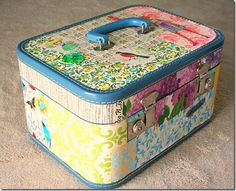 Vintage train case makeover with mod podge and wallpaper! Exactly like the case I have. Maybe I can try this...