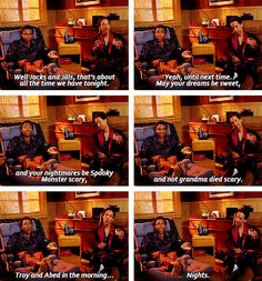 Troy and Abed in the Morning....nights. Troy's face in the last photo!