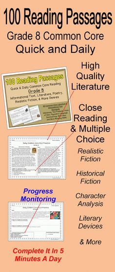 100 informational text and literature passages for quick, daily Common Core reading review.  Realistic fiction, historical fiction, poetry, inferences, figurative language, character analysis, point of view, and more are covered.  Many of the standards repeat across the weeks to provide steady review of literature skills in just a few minutes a day.  The standard is written above each question so students can monitor their progress.$