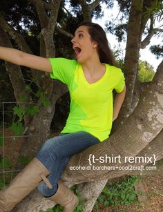 A fun way to take two t-shirts and remix them! Cool for friendship tees or school colors! No-sew :) Designed by EcoHeidi Borchers.
