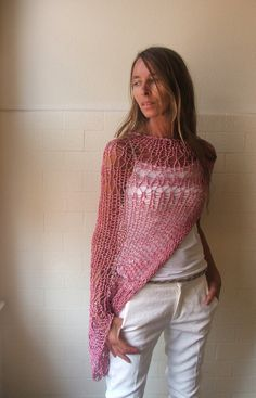 summer pink Loose weave cotton shrug 2 left  in this by ileaiye,