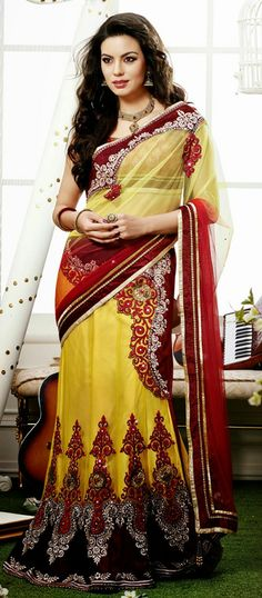 USD 124.13 Yellow and Red Net A Line Embroidered Designer Lehenga Saree 29096