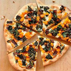 Pizza with Crispy Kale, Butternut Squash, Bacon, and Smoked Mozzarella