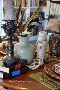 Books and Bookends Tablescape