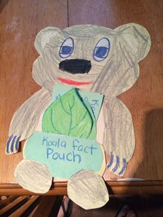 "Koala fact pouch. Use facts about koalas and write them on leaves to put in a front pouch. Goes with the magic tree house book ""dingoes at dinnertime"" by mary pope osborne. I drew the koala and my son colored it and we glued on a pouch for the pocket. Facts go with what we discovered in chapter two. Could be used with any marsupial."