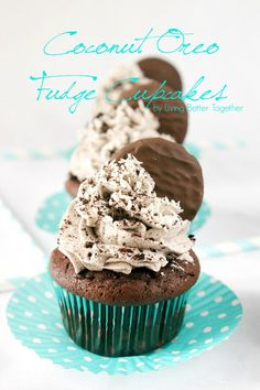 Coconut Oreo Fudge Cupcakes   Living Better Together