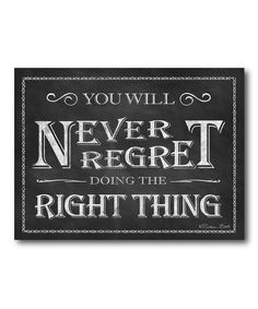 Take a look at this 'Never Regret' Canvas Wall Art on zulily today!