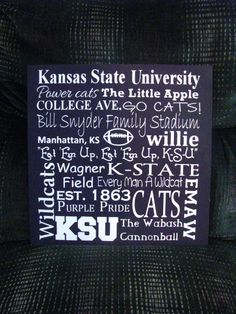 Kansas State University Subway Art by PorchPostPrimitives on Etsy, $35.00