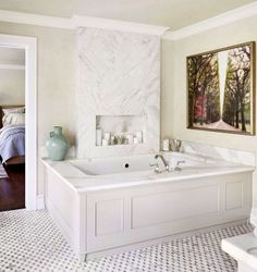 Wood Panel + Marble Tub Surround