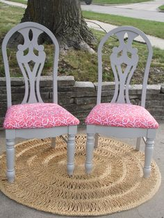 "Two chairs re-done and re-freshed.  Painted Gray w/ Coral seat cushions.  SOLD @ Open Air Market, Indianola Iowa 2013 by Serendipity's Door on FB.  Visit our page and ""LIKE"""