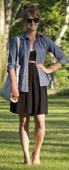 Black dress, chambray shirt, leopard belt