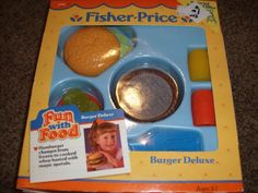 vintage 80's fun with food toys | ... Toy Food Burger Deluxe Set 2135 Vintage Play 1987 NIB Fun Hamburger.  I loved when my kids played with these.