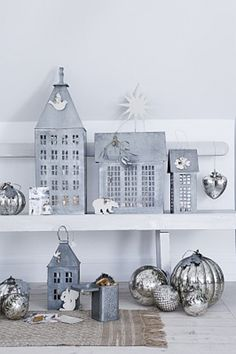 tin deco tin hous, lantern, houses, christma decor, tin deco, walther, white christma, winter decor, zinc hous