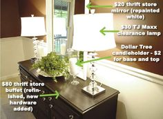 lamps, dining rooms, room redo, news, candle holders, candles, dressers, thrift store finds, moldings