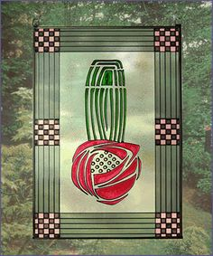 Charles Rennie Mackintosh Rose Art Glass Panel 2