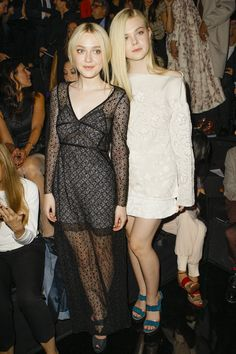 Dakota & Elle Fanning at Louis Vuitton Spring-Summer 2014 Fashion Show #PFW #RTW #SS14 #LouisVuitton #LV #LVMH via vogue.fr